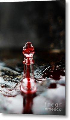 Chess Piece In Blood Metal Print by Stephanie Frey