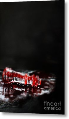 Chess Piece Lying In Blood Metal Print by Stephanie Frey