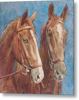 Metal Print featuring the painting Chestnut Pals by Richard James Digance