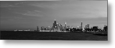 Chicago At Dusk In Black And White Metal Print by Twenty Two North Photography