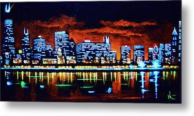 Chicago By Black Light Metal Print