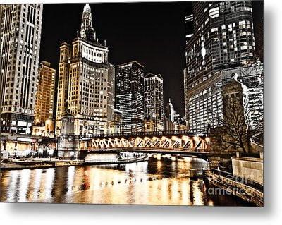 Chicago City At Night Metal Print by Paul Velgos
