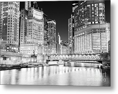 Chicago Cityscape At Night At Dusable Bridge Metal Print