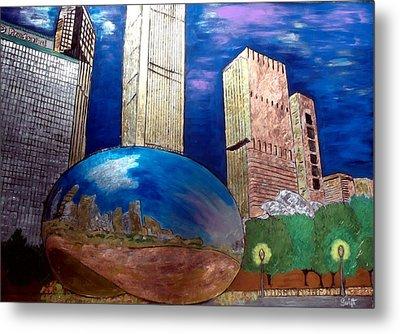 Chicago Cloud Gate At Millennium Park Metal Print by Char Swift