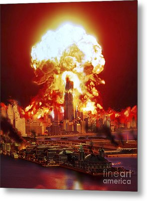 Chicago Disintegrates As A Nuclear Metal Print