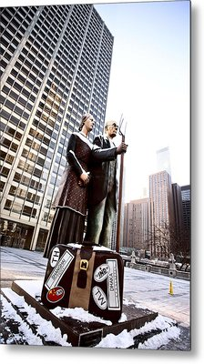 Chicago Downtown City  Night Photography Wrigley Square American Gothic Metal Print