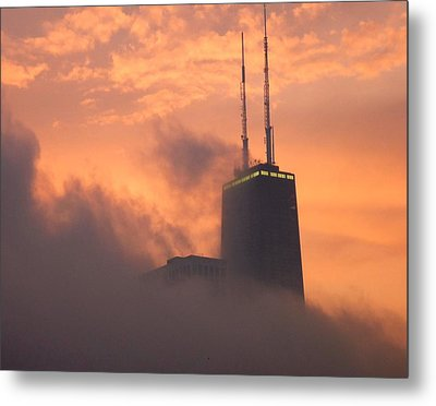 Chicago Dusk Metal Print by Valentino Visentini