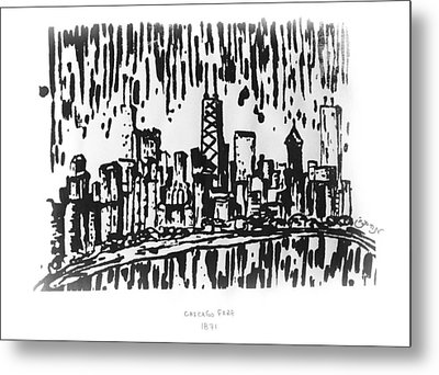 Metal Print featuring the painting Chicago Great Fire Of 1871 Serigraph Of Skyline Buildings Sears Tower Lake Michigan Hancock Bw by M Zimmerman
