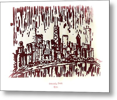 Metal Print featuring the painting Chicago Great Fire Of 1871 Serigraph Of Skyline Buildings Sears Tower Lake Michigan John Hancock  by M Zimmerman