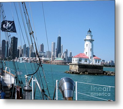 Chicago Harbor Lighthouse Metal Print by Sonia Flores Ruiz