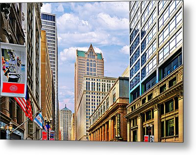 Chicago - Looking South From Lasalle Street Metal Print by Christine Till