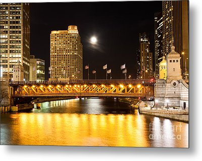Chicago Michigan Avenue Dusable Bridge At Night Metal Print by Paul Velgos