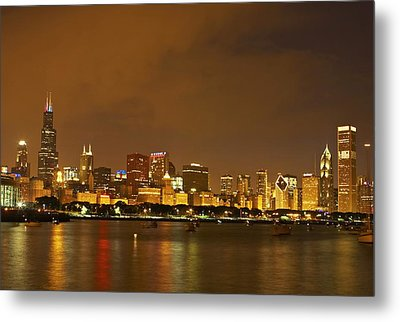 Chicago Skyline At Night Metal Print by Axiom Photographic