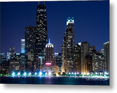 Chicago Skyline At Night With John Hancock Building Metal Print by Paul Velgos