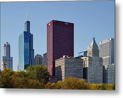 Chicago Skyline From Millenium Park Metal Print by Christine Till