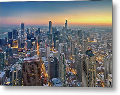 Chicago Skyline In Blue Hour Metal Print by Delobbo.com