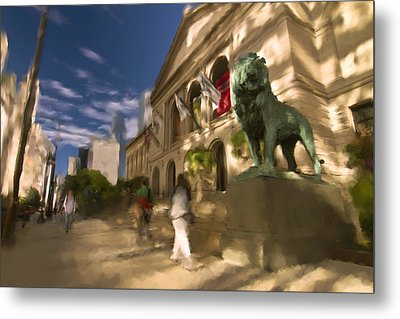 Chicago's Art Institute In The Morning Sun Metal Print