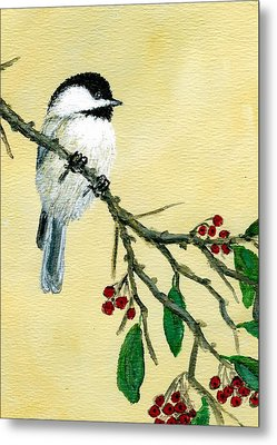 Chickadee Set 4 - Bird 1 - Red Berries Metal Print