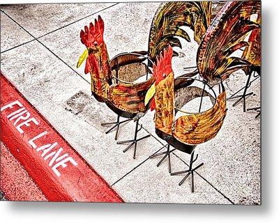Chicken Crossing Metal Print