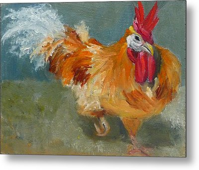 Chicken On The Run Metal Print by Jessmyne Stephenson