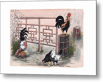 Chickens At The Gate Metal Print by Nancy Pahl