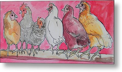 Metal Print featuring the painting Chickens by Jenn Cunningham