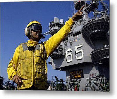 Chief Aviation Boatswains Mate Directs Metal Print by Stocktrek Images