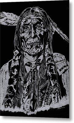 Chief Wolf Robe Metal Print by Jim Ross