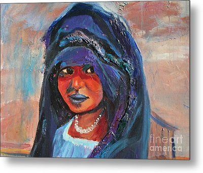 Child Bride Of The Sahara - Close Up Metal Print by Avonelle Kelsey