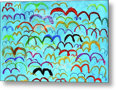 Child Drawing Of Colorful Birds In Blue Sky Metal Print by Donald Iain Smith