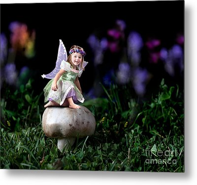 Child Fairy On Mushroom Metal Print by Cindy Singleton