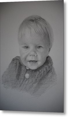 Metal Print featuring the drawing Child Portrait by Lynn Hughes
