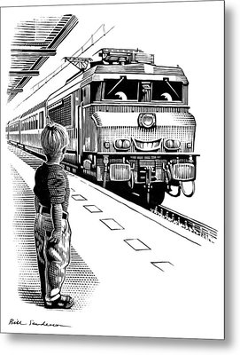 Child Train Safety, Artwork Metal Print by Bill Sanderson