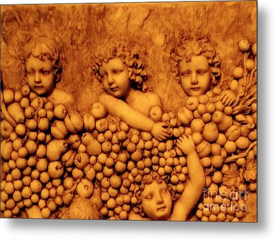Metal Print featuring the photograph Children Among The Grapes by Annie Zeno