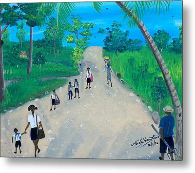 Children Walking To School Metal Print by Nicole Jean-Louis