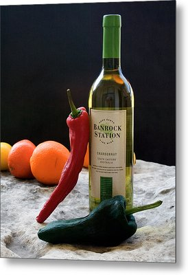 Metal Print featuring the photograph Chilis Wine And Citrus by Jim  Arnold