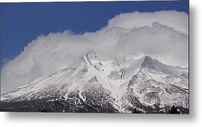 Chill Winds Across Shasta's Peak Metal Print by Mick Anderson