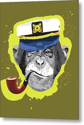 Chimpanzee Wearing Captain's Hat, Smoking Pipe Metal Print