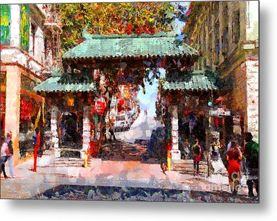 Chinatown Gate In San Francisco . Painterly . 7d7139 Metal Print by Wingsdomain Art and Photography