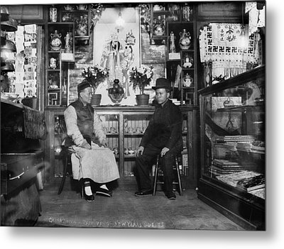 Chinatown, Receiving New Years Guests Metal Print by Everett