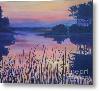 Metal Print featuring the painting Chincoteaque Island Sunset by Julie Brugh Riffey