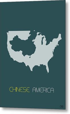 Chinese America Poster Metal Print by Naxart Studio