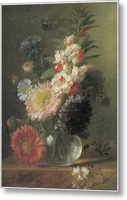 Chinese Aster And Balsam In A Glass Vase Metal Print by Cornelis Van Spaendonck