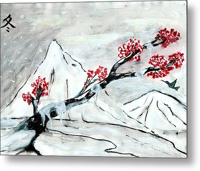 Chinese Brush Paint Winter Metal Print by Shashi Kumar