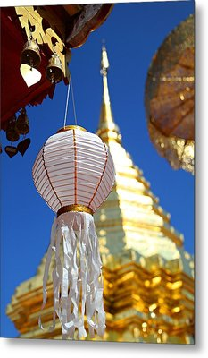 Metal Print featuring the photograph Chinese Lantern At Wat Phrathat Doi Suthep by Metro DC Photography
