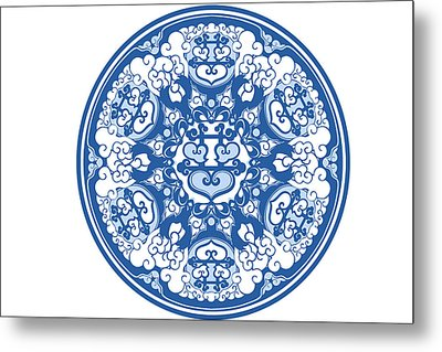 Chinese Traditional Blue And White Porcelain Style Pattern Metal Print