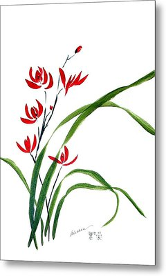 Chinese Wild Orchid 1 Metal Print by Alethea McKee