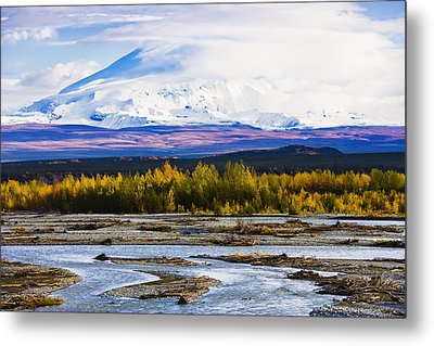 Chistochina River And Mount Sanford Metal Print by Yves Marcoux