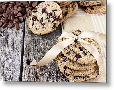Chocolate Chip Cookies And Chocolate Chips Metal Print by Stephanie Frey