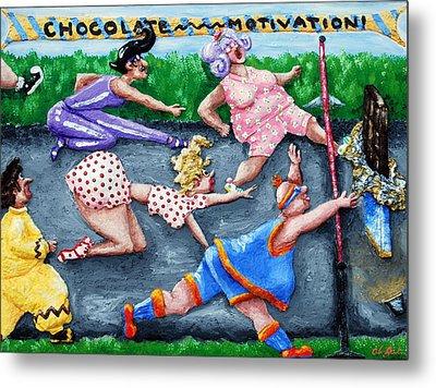 Chocolate Motivation Metal Print by Alison  Galvan